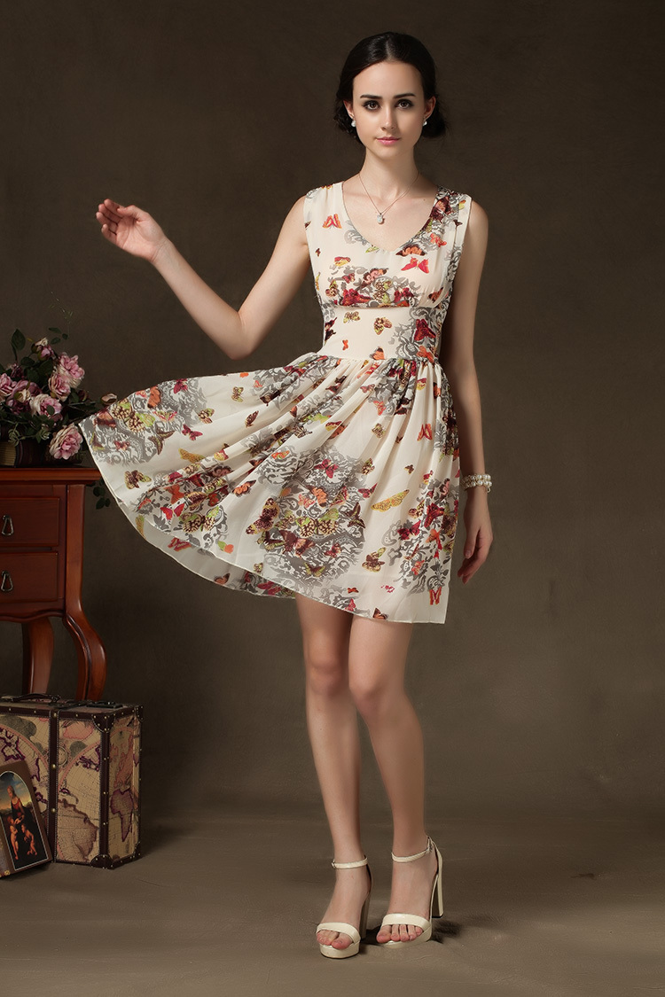 Finery Butterfly Floral Print Sleeveless Pleated Dress Summer Draped