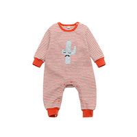 Spring Newborn Kids Baby Boys Girls Clothes Striped Rompers Warm Pajamas Sleepwear Romper Cactus Print Cotton Clothing Costumes