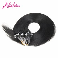Alishow Micro Loop Ring Links Human Hair Extensions 1g S 50g Brown Blonde Remy Hair Straight