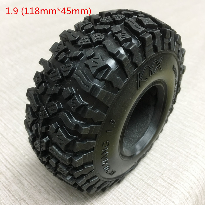 1PCS 118*45mm Rock Crawler Wheel Tyre 1.9 Inch Strong Grip Black Rubber Tires with Liner for 1/8 1/10 RC Model Climbing Cars 4pcs 1 9 rubber tires