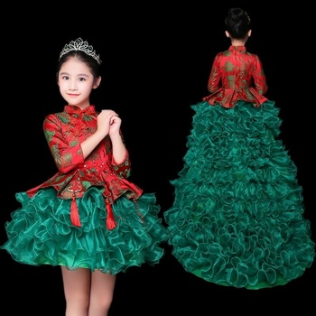 Traditional Chinese Costume Boy Kids Cheongsam Qipao Girl Festival Outfit Stage Costumes For Girls Chinese Dress Kids AA4421