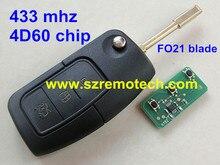 Envío Gratis 3 Botón Reemplazo Sin Llave A Distancia Clave Fob para FORD Focus Mondeo TRÁNSITO transmisor 433 MHz