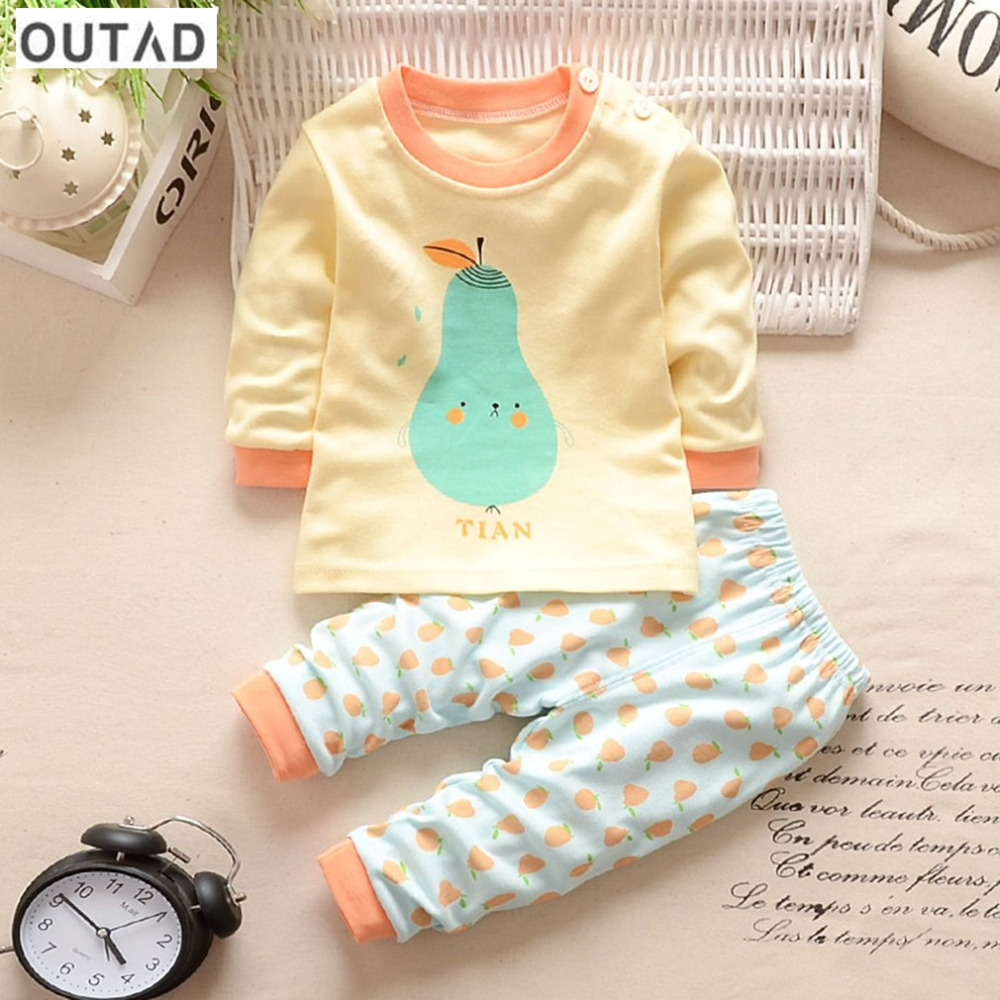 OUTAD 2Pcs Baby Suit Lovely Cartoon Melon Printed Newborn Clothing Spring Autumn Warm Infant Baby Boys Girls Cotton Outfit