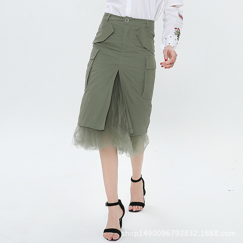 Cakucool Hot nouvelles femmes jupe crayon moulante fente maille Patch Empire Midi longues jupes noir vert Slim coréen femmes vêtements