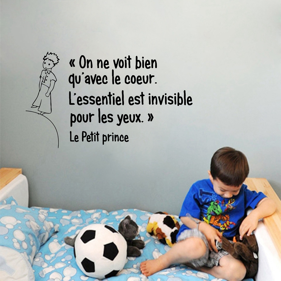 Franska Little Prince Quotes Vinyl Wall Sticker Barn Pojkar Rum / Sovrum Prince Wall Art Väggmålningar Dekaler Decor