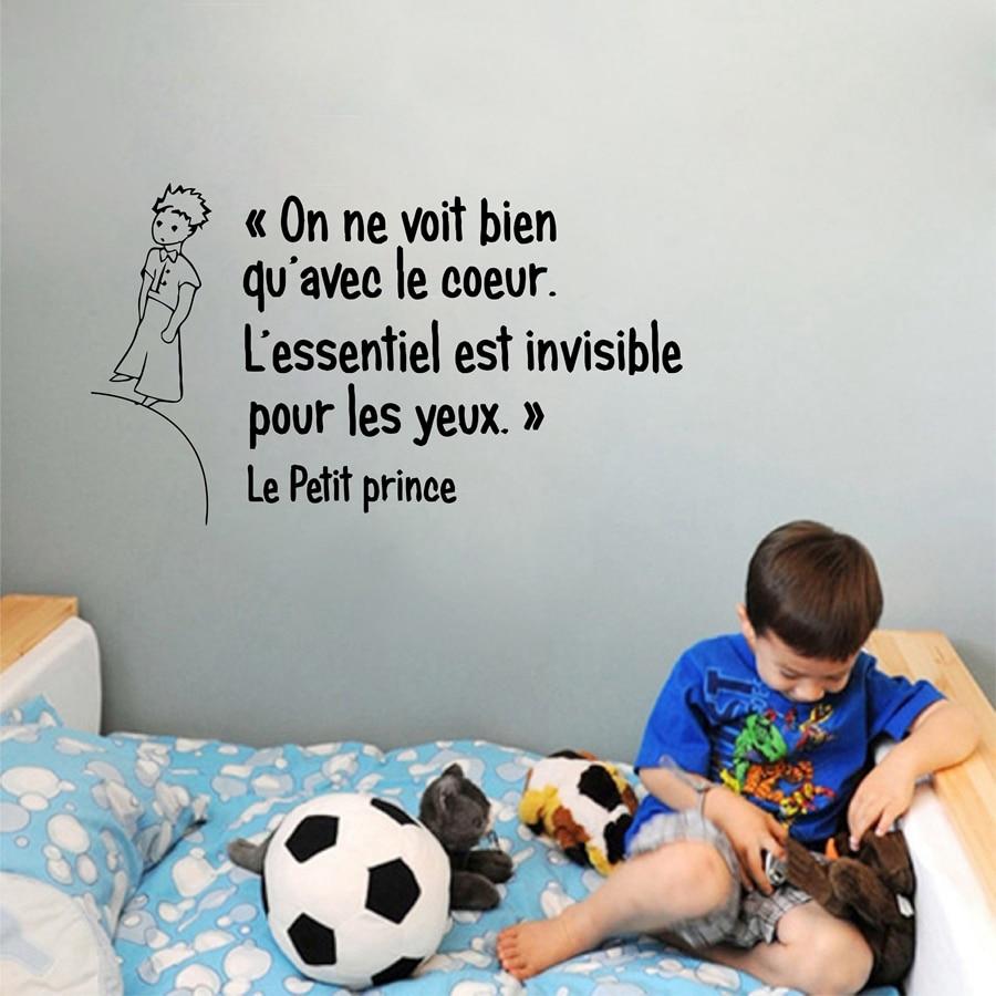 Французский Маленький принц Цитата виниловая настенная наклейка Дети Мальчики комната/спальня принц стены художественные настенные накле...