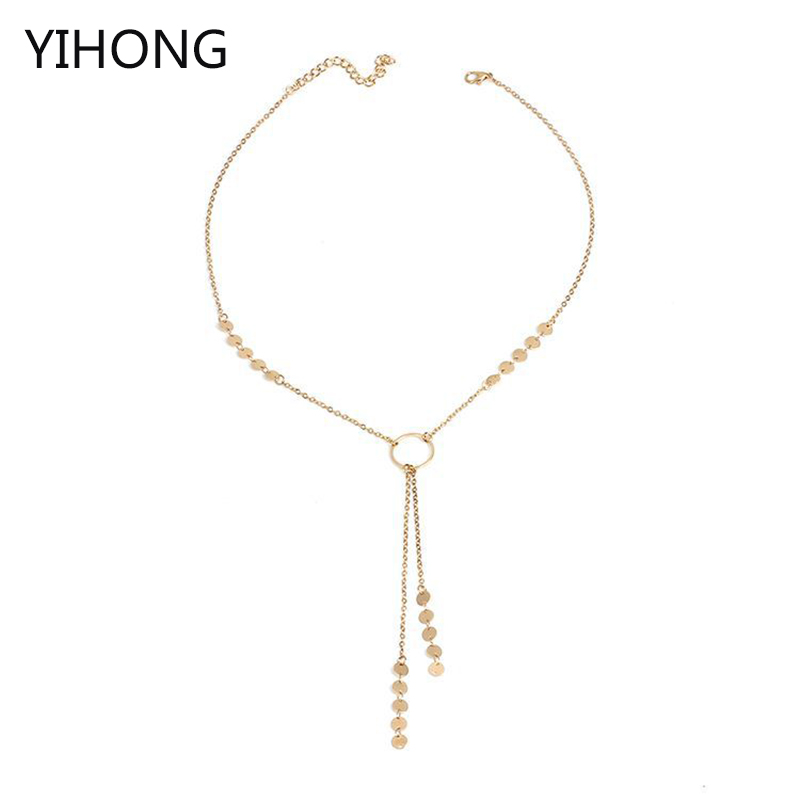 Sequin Pendant Necklace Charm Chain Tassel Choker for Fashion Women Jewelry Wholesale Cloth Accessories