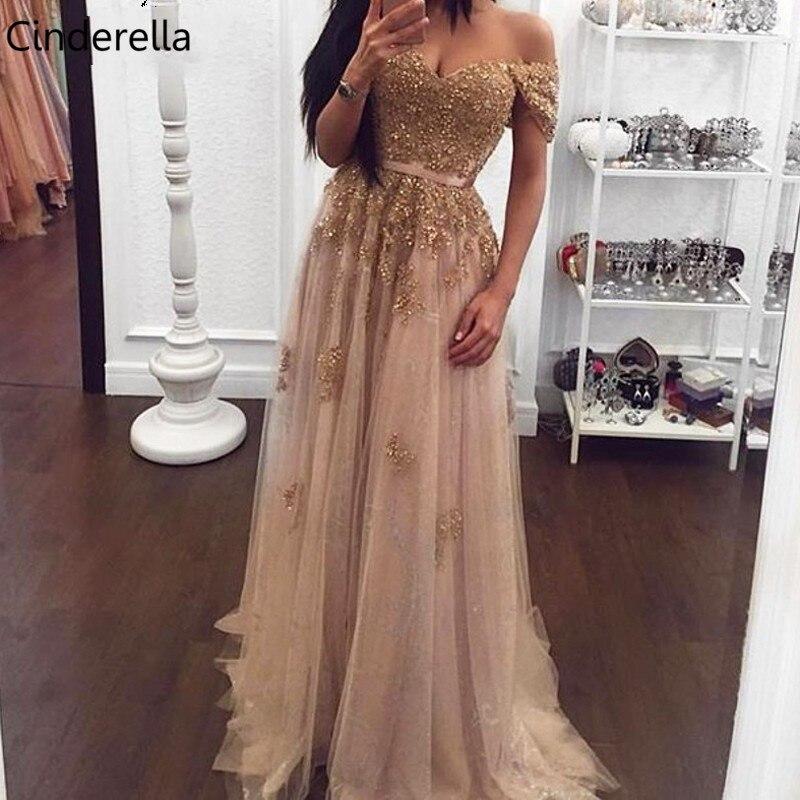 Cinderella Sexy Sweetheart Sweep Train A-Line Lace Applique Pearl Crystal Beaded Evening Dresses Vestidos De Fiesta De Noche