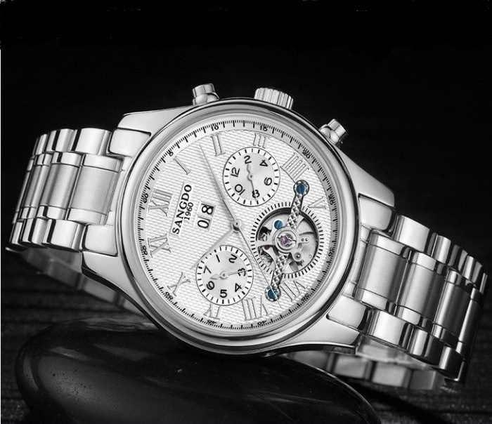 40mm Sangdo Business watch Automatic Self-Wind movement Sapphire Crystal Mechanical multifunction Men's watch 030SD deluxe ailuo men auto self wind mechanical analog pointer 5atm waterproof rhinestone business watch sapphire crystal wristwatch
