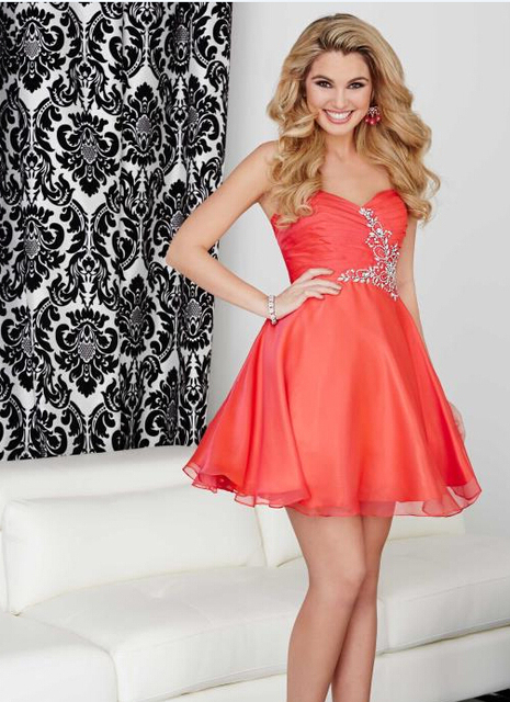 Hot Sale 2016 Short Coral Homecoming Dresses A Line Chiffon Sexy Backless  Sweetheart Crystal Top Cute 8th Graduation Prom Dress 3e358516a