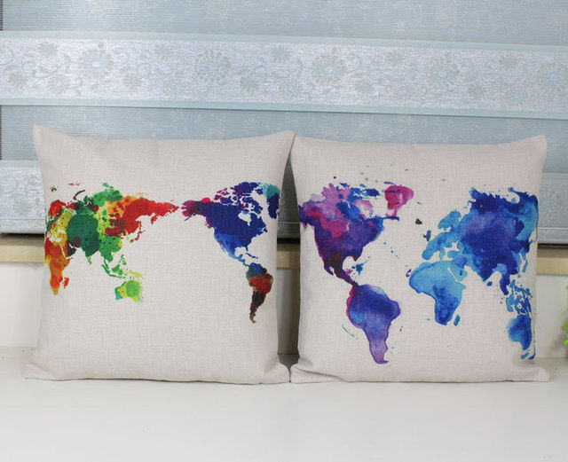 Aliexpress Com Buy World Map Pillow Cover Watercolor Creative