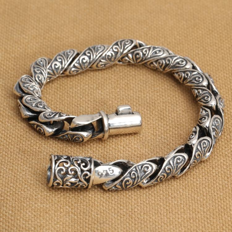 Handmade S pure silver Good Luck man bracelet vintage thai silver man