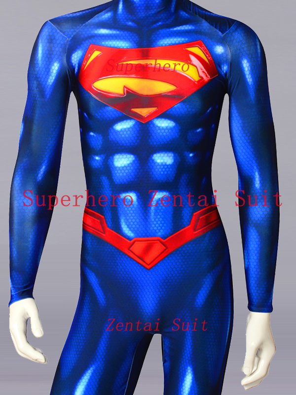 New 52 Superman Costume 3D Printed Spandex Lycra Superman Superhero Suit Halloween Cosplay Fullbody Zentai Suits For Adult