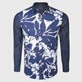 Blanco Navy Impresión de Bloque de la Camisa de Los Hombres Flaco Camisas de Lujo Del Partido de Manga Larga Ropa de Diseño Único Día de San Valentín Regalos
