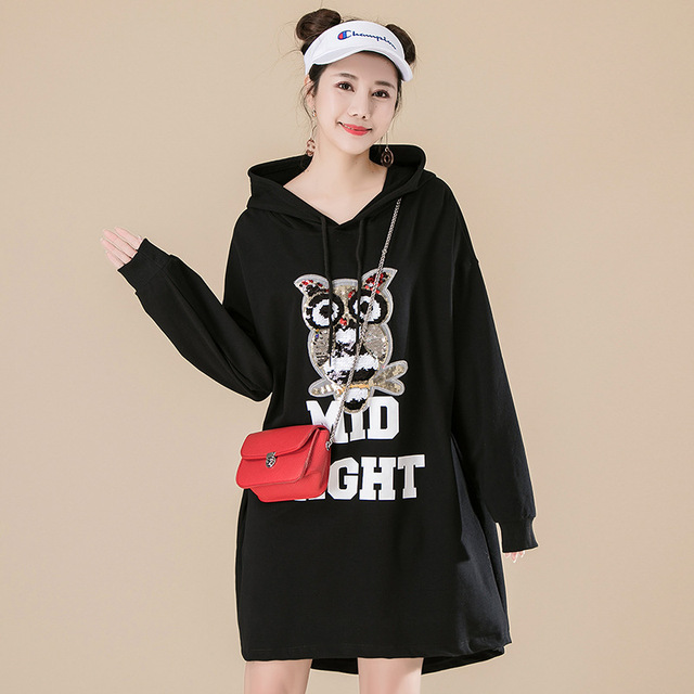 246ebf6663ca 2019 Spring New Loose Oversize Hoodies Dress Women Korea Casual  Color-changing Sequins Print Hooded Dress Plus Size Green Red
