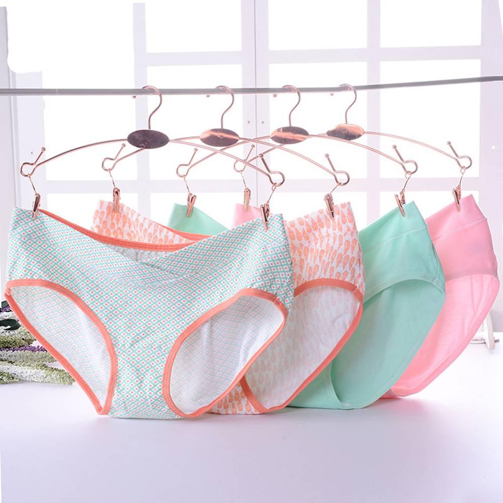 4PCS कपास गर्भवती महिलाओं के अंडरवियर सेट यू-आकार कम कमर कपास मातृत्व अंडरवियर प्लस आकार मातृत्व अंडरवियर अंडरवियर