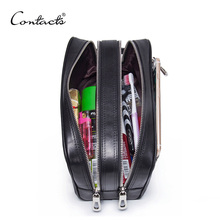 CONTACT'S genuine leather makeup bag men high quality men's