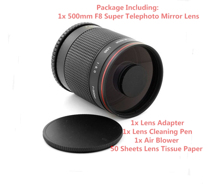 цена на Super Telephoto 500mm f/8 Mirror Lens to for Samsung NX NX-11, NX-20, NX-30, NX-100,NX-1100, NX-2000, NX-3000 Camera