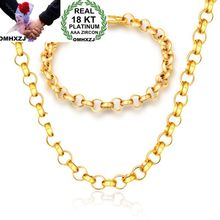 OMHXZJ Wholesale Personality Fashion OL Woman Girl Gift Gold Thick Circles Chain 18KT Bracelet+Necklace Jewelry Set SE40