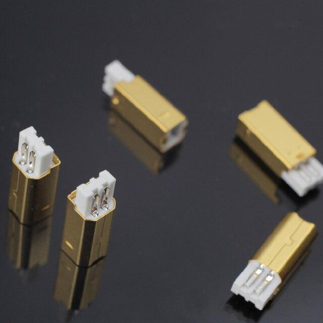 MPS HD 019 HiFi USB 2.0 אודיו מחבר תקעים טהור נחושת אודיו שקע מחבר 24K 5u זהב מצופה DAC USB 2.0 מחבר סוג B