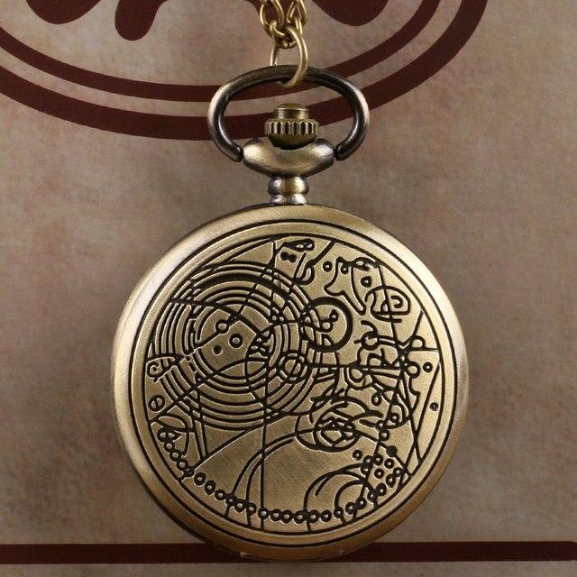 Retro Bronze Doctor Who Theme Quartz Analog Pocket Watch Men Women Full Hunter Antique Classic Clock Necklace Chain