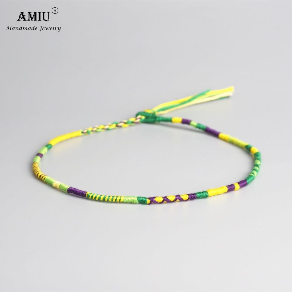 AMIU Handmade Woven Cotton Thread Boho Choker Necklace Wrap Adjustable Vintage Choker Bohemian Necklace