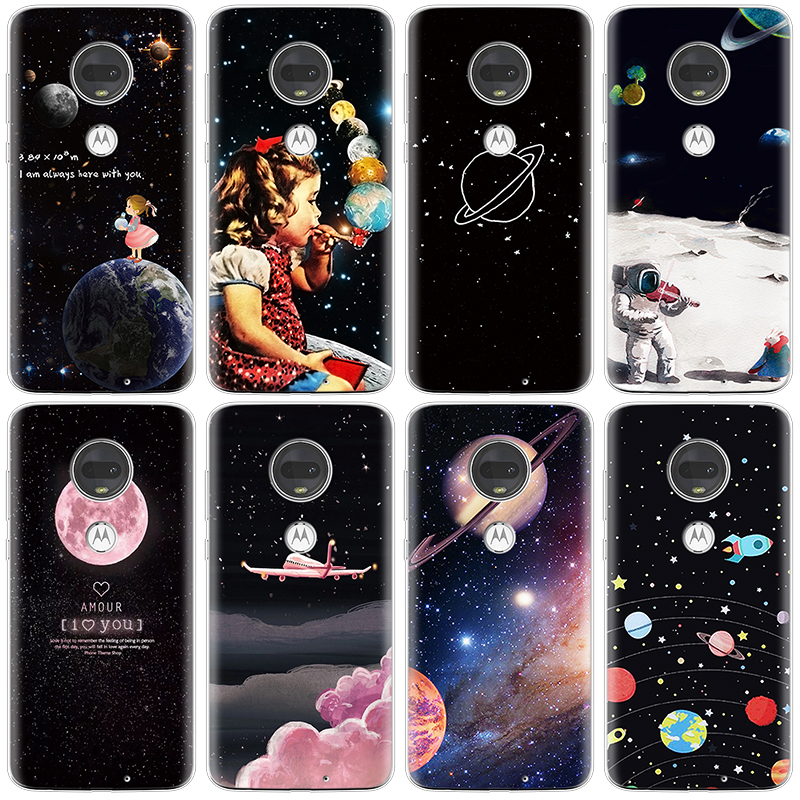 Phone Case For Coque Motorola Moto G7 G 7 Plus Play Case Soft TPU Silicone Funny For Motorola G7 Power Case Cover Space Cartoon
