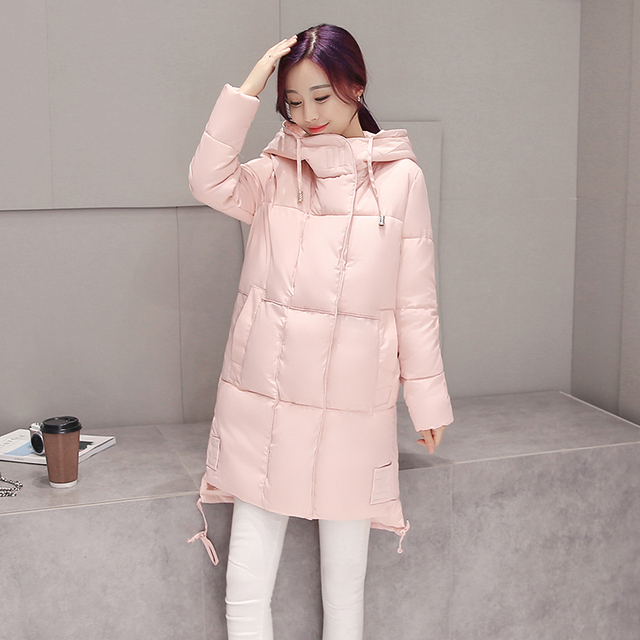 New 2016 Autumn winter Down jacket round Hooded Collar  womens Warm Jackets loose cotton Coat Female Medium long Style #LX6030