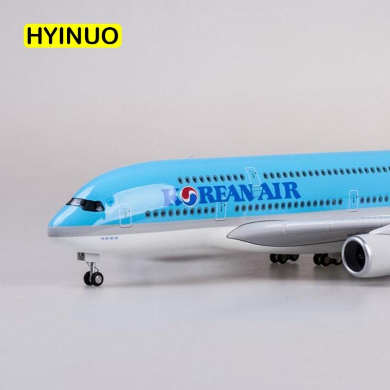 1 160 Scale 45 5CM Airplane Airbus A380 Aircraft Korean International Airline Model W Light Wheel