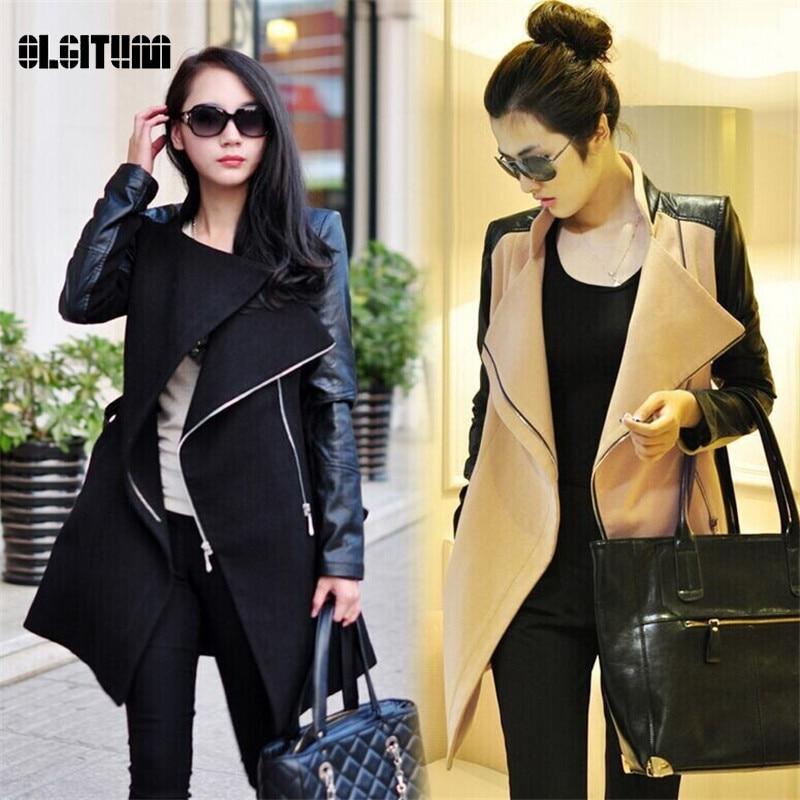2016 Winter&Fall  Fashion women coat Patchwork Womens Long Wool PU Leather Sleeve Jacket Coat Windbreaker Free Shipping