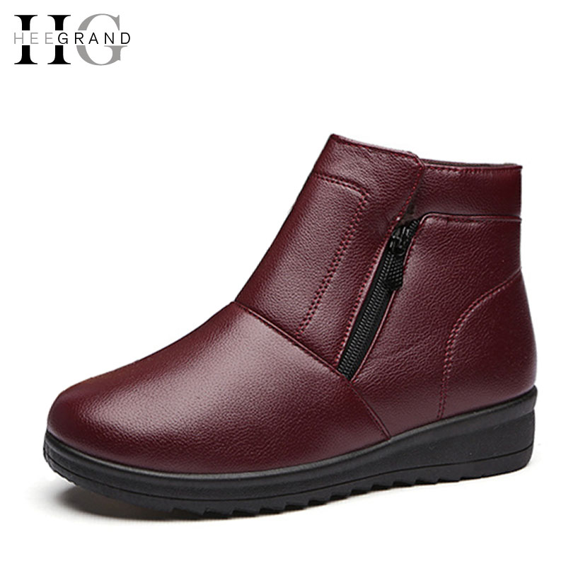 HEE GRAND Plush Winter Boots Woman Waterproof Zip Wedges Mother Shoes Woman 2016 Casual Slip On Ankle Boots Size 35-41 XWX5087 hee grand women snow boots winter flat panda pattern shoes woman fur cotton slip on snow ankle boots size 35 40 xwx4498