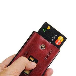 Image 5 - ZEEKER nowe wielofunkcyjne skórzane metalowe etui z miejscem na karty portfele na karty kredytowe męskie portfele