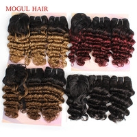 MOGUL HAIR Deep Wave 1 Set for Full Head Short Bob Style Ombre Remy Human Hair Natural Color 155g/set Brazilian Hair Weave