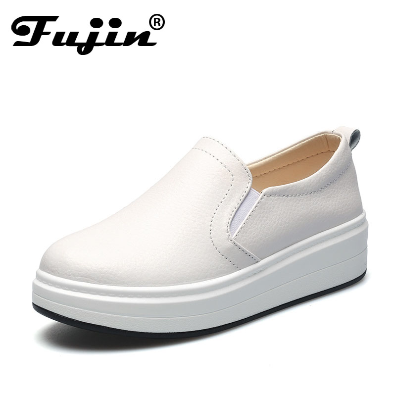 2018 Fujin Spring Summer Autumn New women loafers Flats Sneakers Genuine Leather Slip On Shoes Female Boat Shoes Flats Platform spring summer flock women flats shoes female round toe casual shoes lady slip on loafers shoes plus size 40 41 42 43 gh8