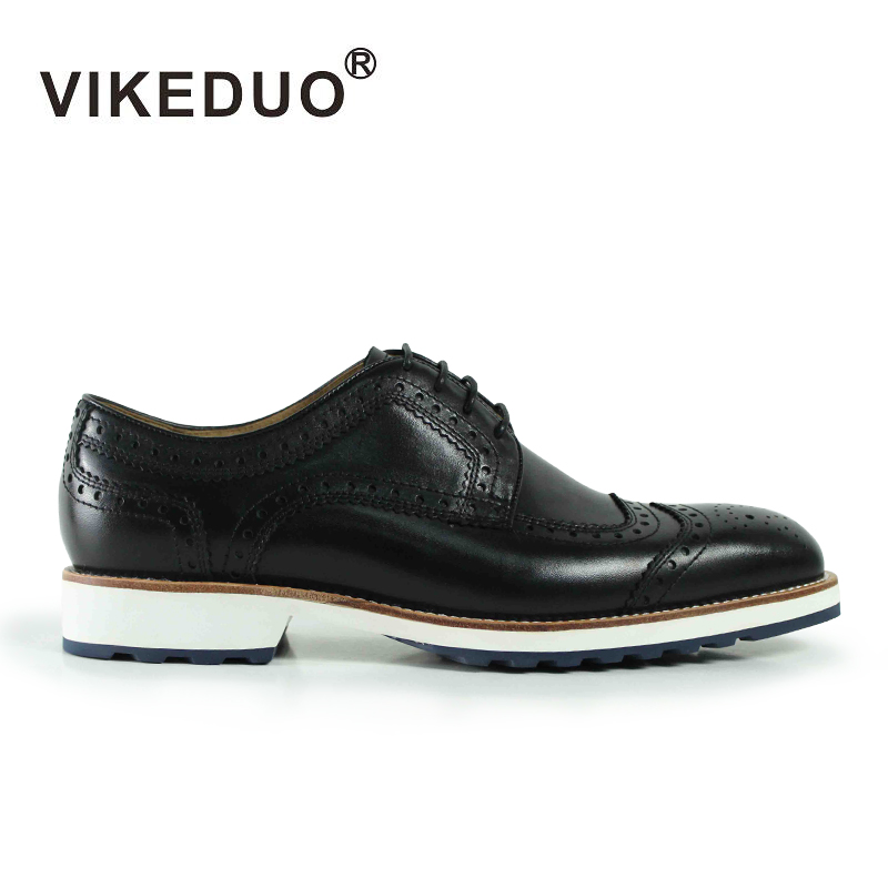 VIKEDUO Brand Bullock Carved Casual Men Shoes Top Genuine Leather Lace Derby Fashion Italian Style Outdoor Shoe For Man Boys