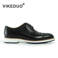 VIKEDUO Pure Hand Made Leather Derby Shoes Men S Shoes Casual Shoes
