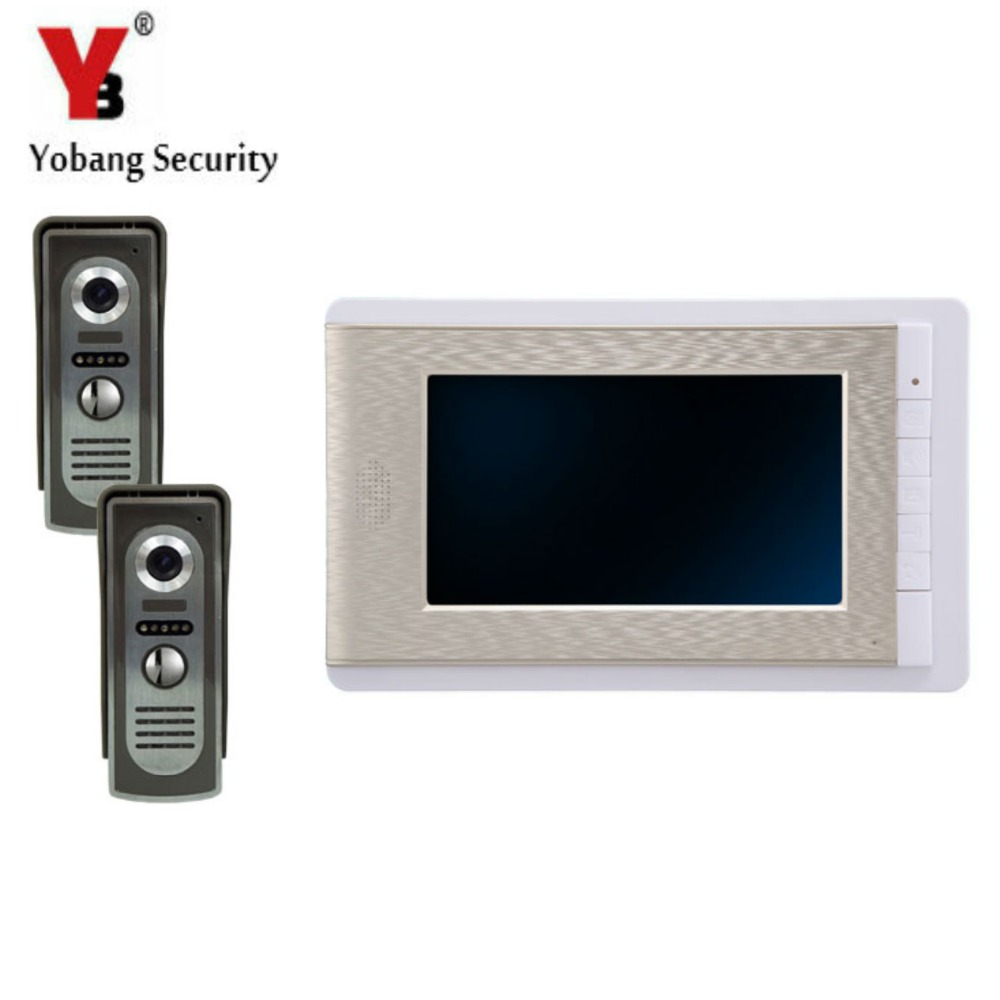 YobangSecurity 7 Inch Color LCD Villa Video Door Phone Doorbell Intercom Entry System Kit 1-Monitor 2-Camera House Gate Intercom yobangsecurity wifi wireless video door phone doorbell camera system kit video door intercom with 7 inch monitor android ios app