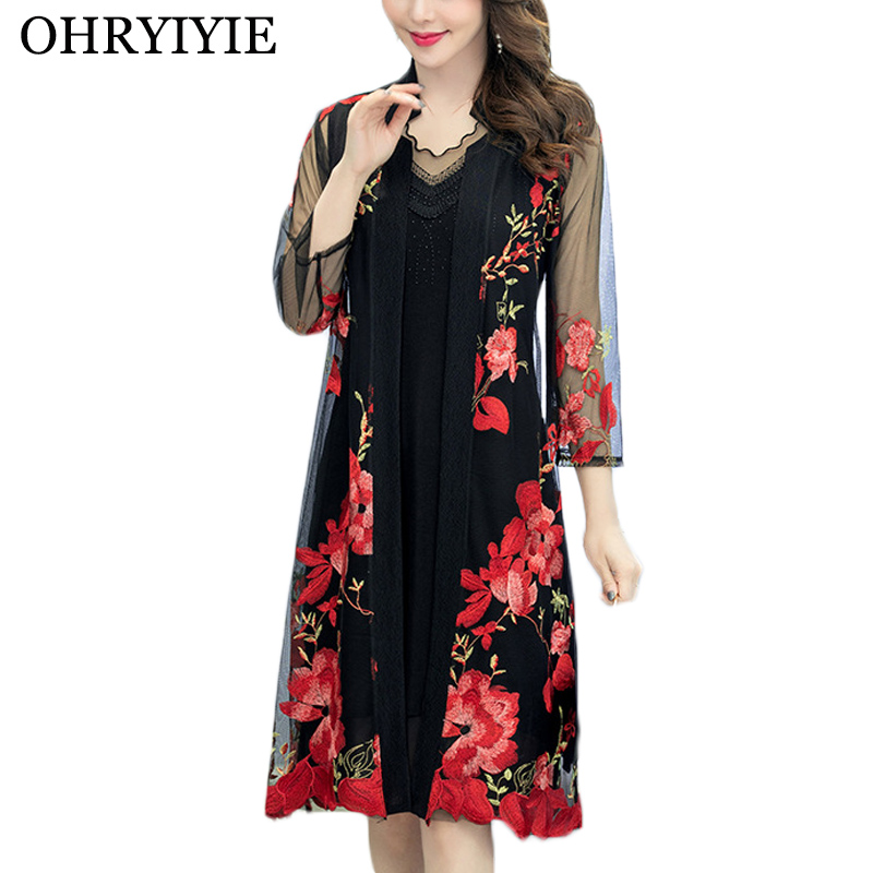 OHRYIYIE Plus Size 5XL Thin Embroidery Cardigan Sweater Women Poncho 2020 Summer Fashion Floral Knit Sweater Female Outwear Coat