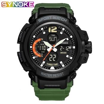 SYNOKE Sport Watch Waterproof Alarm Mens Watches Top Brand Military Digital Led Sports Men Wristwatch Double Display Clock