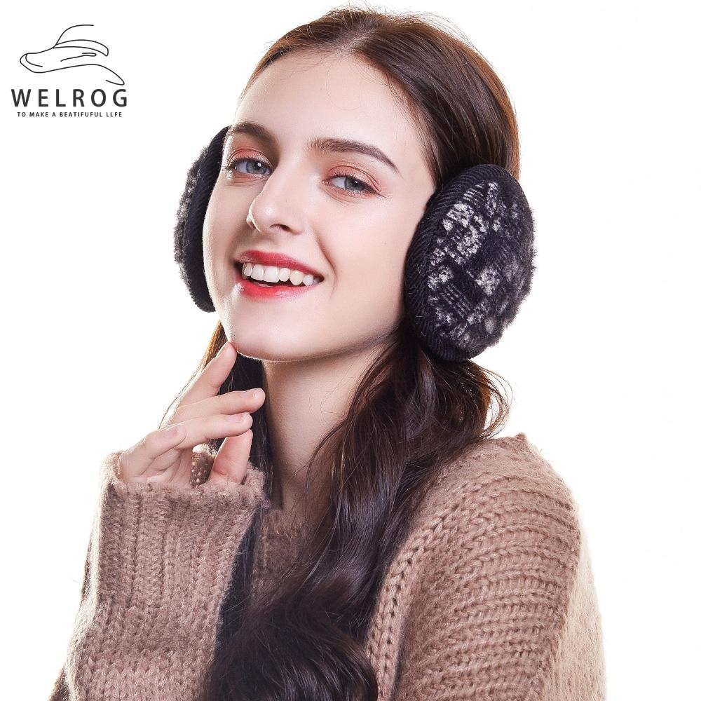 WELROG  Winter Earmuffs Women Ear Muffs Mane Ear Warmer Foldable Adjustable Faux Fur Ear Cover Earflap Warm Plush Back Wear