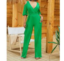 Sexy  Lace Up Bodycon Jumpsuit Women Deep V Neck Hollow out   long sleeve Party Club Bodysuit 2019 Casual Solid Wide Leg Romper недорого