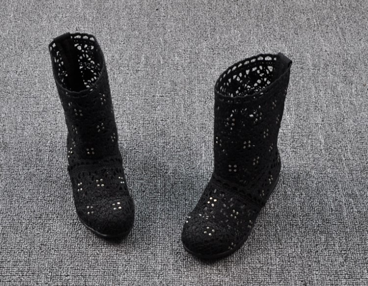 (A241)18 Classical Kids Shoes Summer Girls Boots Knitting Hollow Children Shoes Fashion Network Boots For Girls 23