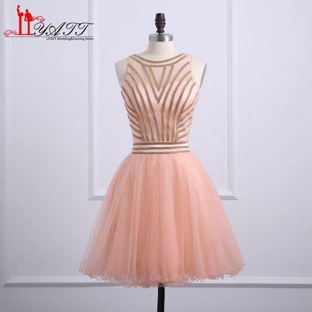 Nuevo corto de color rosa Vestidos de baile a line o cuello oro con ...