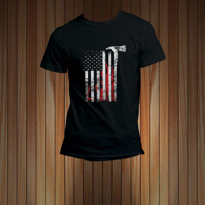 THIN RED LINE FIREFIGHTER FLAG FIREMAN Black Mens Casual Fitness Men T Shirts