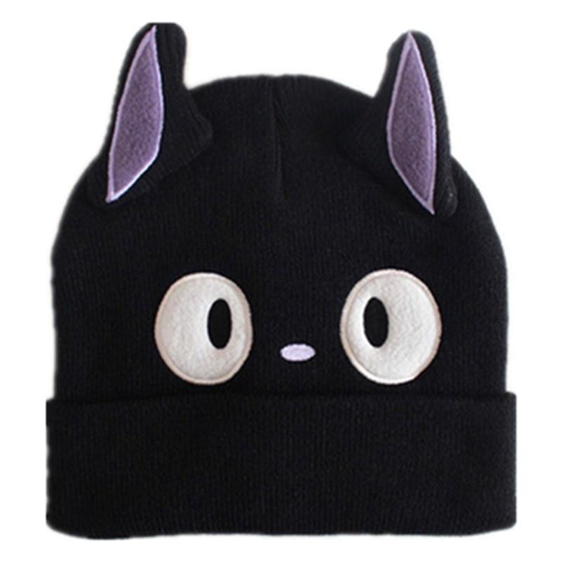 Kiki Delivery Service JiJi Cosplay Black Cat Knitting Knitted Plush Hat Studio Ghibli Miyazaki Kiki's Delivery Cat Adult Kid Cap