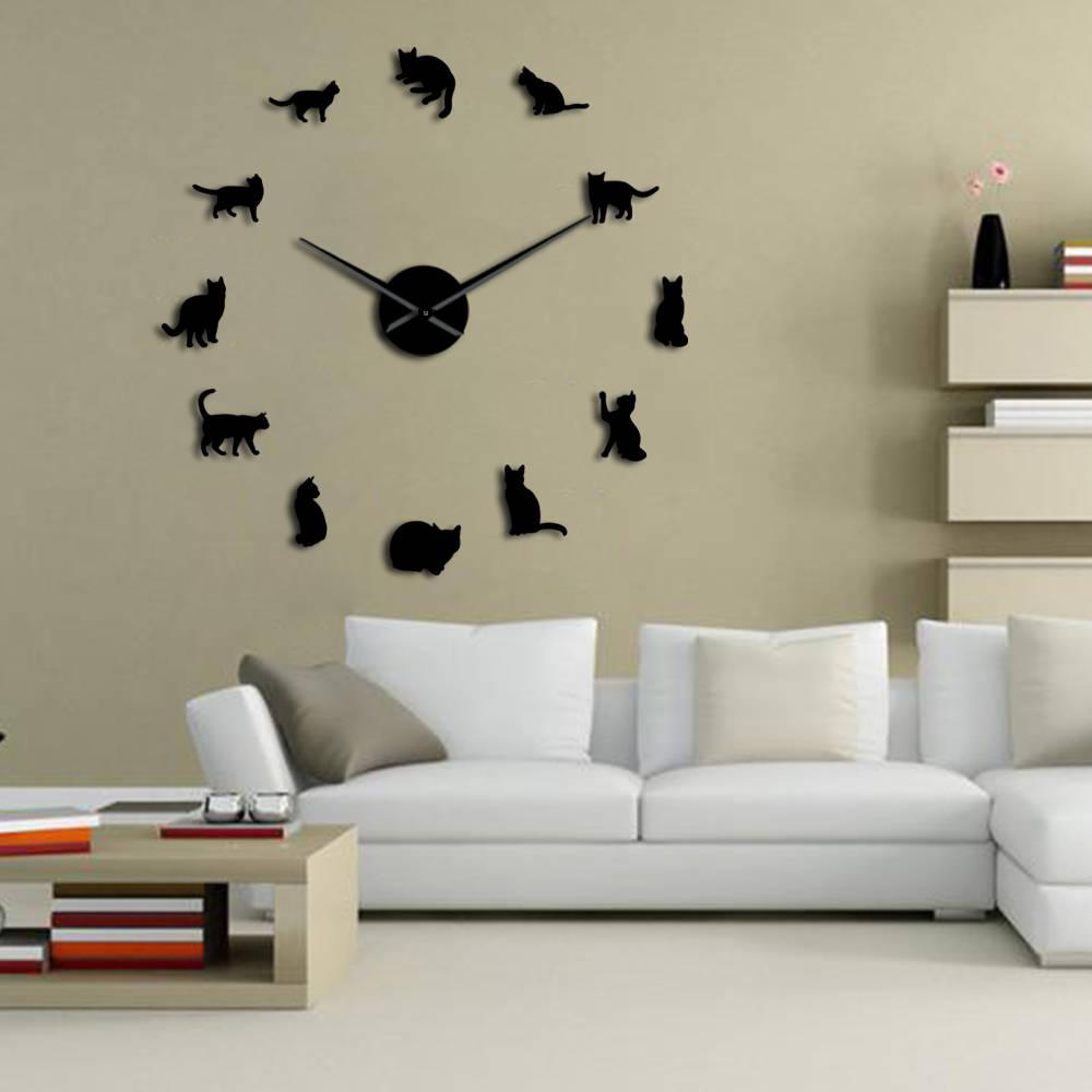 Silhouette Cats Wall Art Kittens DIY Giant Wall Clock Playful Cats Big Needle Kitty Girl Room Large Wall Watch Feline Fan Gift