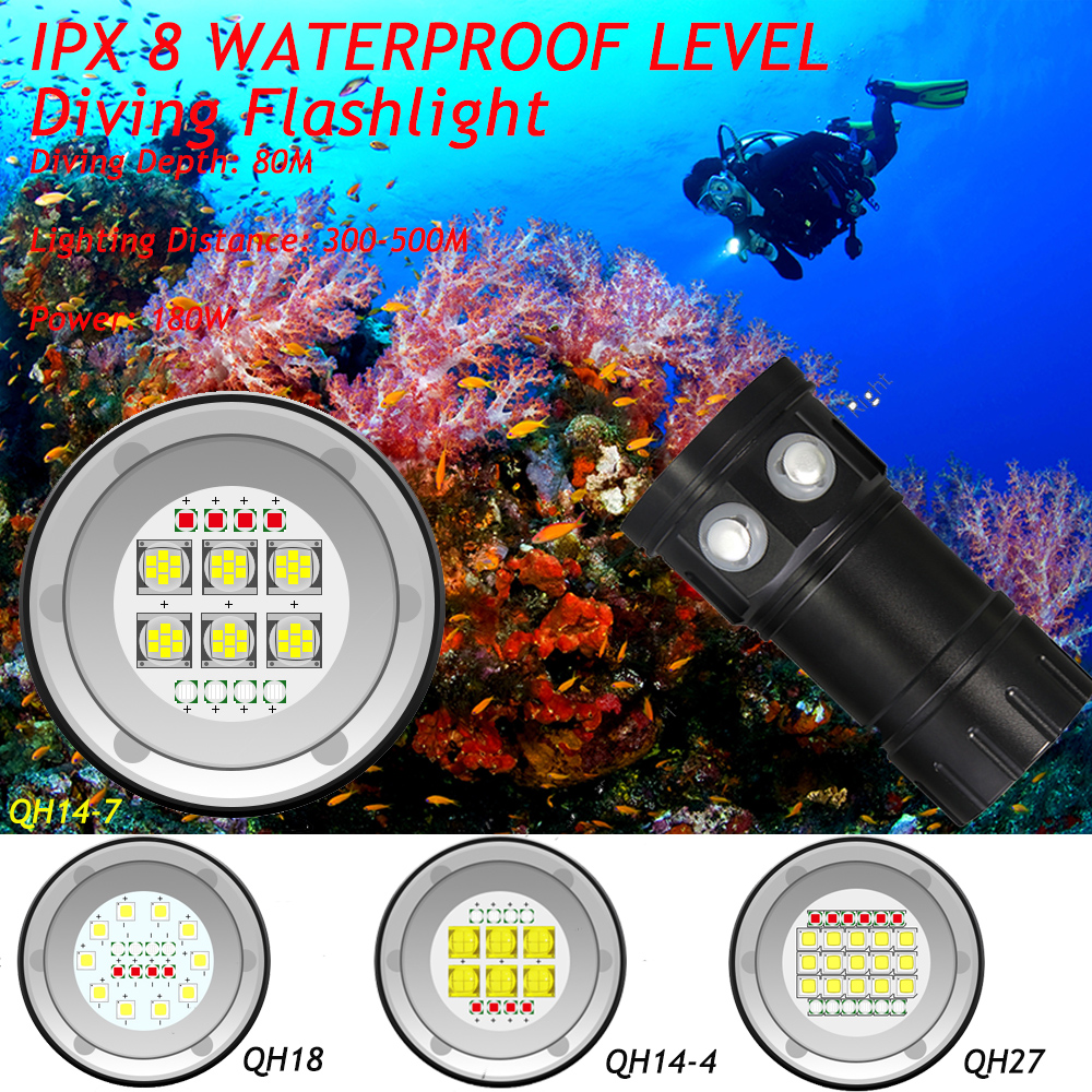 50000Lumens QH14 QH18 QH27 Waterproof IPX8 White Red Blue LED Diving Light Flashlight LED Photography Video