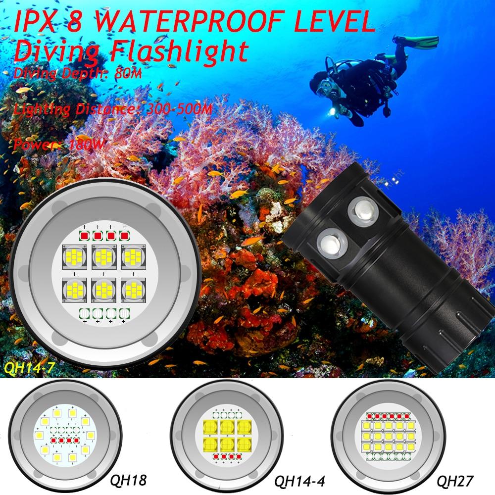25000 Lumens QH14/QH18/QH27 étanche IPX8 blanc/rouge/bleu LED lumière de plongée lampe de poche LED photographie vidéo torche de plongée