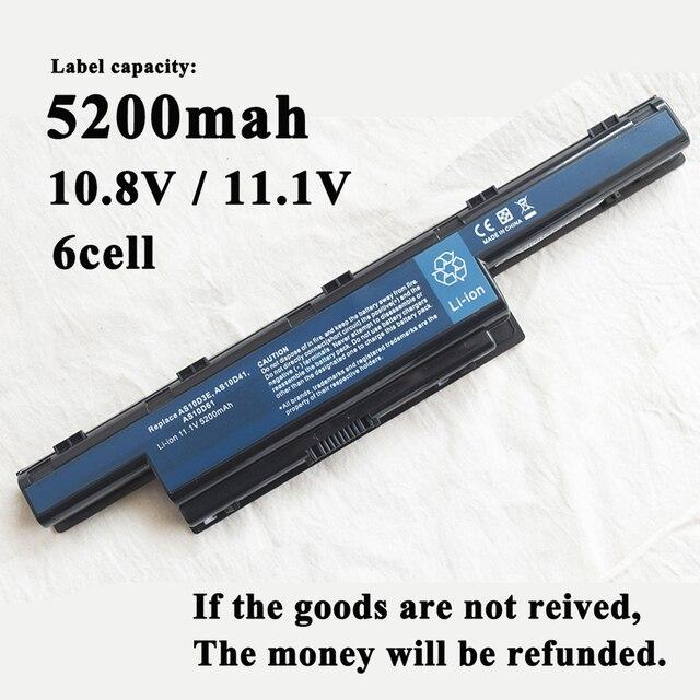 Batería para portátil de 4400mAh para Acer Aspire 4743 4749 4750 4752 4755 4771 5552 4741Z AS10D31,AS10D51,New75 5560 4250 AS10D5E