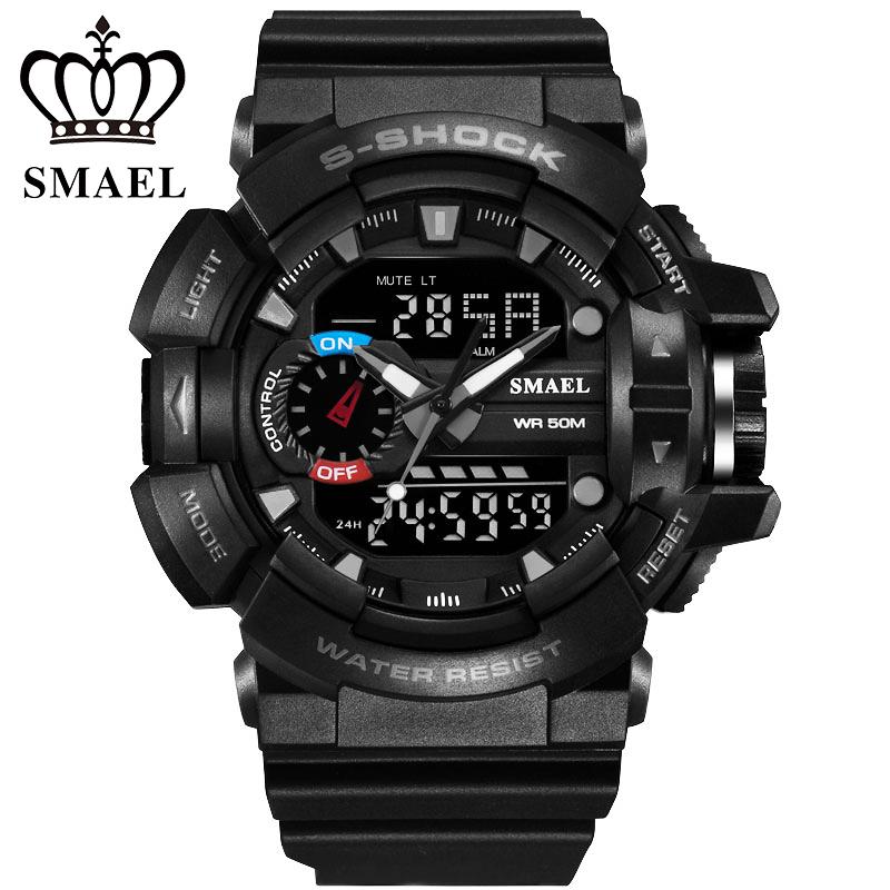 Prix pour 30 M Étanche Mens Sport Choc De Montre Militaire Montre Numérique LED Électronique Montre-Bracelet Homme Horloge relogio masculino WS1436